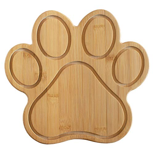 """Totally Bamboo Paw Shaped Bamboo Serving And Cutting Board, 11"""" x 10"""", Natural"""