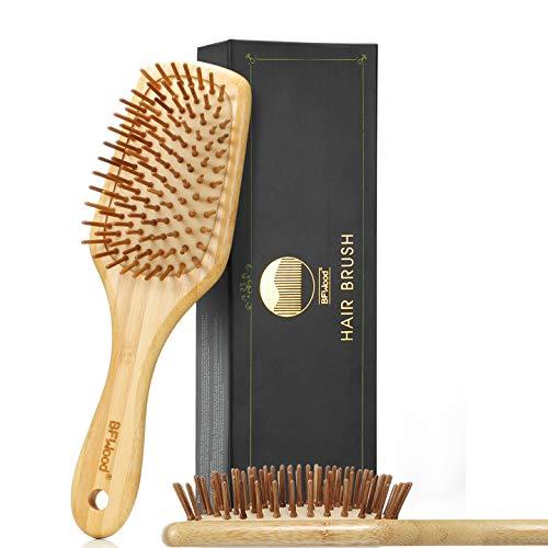 BFWood Bamboo Paddle Hairbrush with Bamboo Bristles for Massaging Scalp