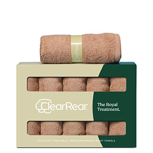 Clear Rear The Royal Treatment Bamboo Towel Set (Set of 5) Eco-Friendly, Super Absorbent, Hypoallergenic, Soft & Unbleached Hand Towel Washcloth Set