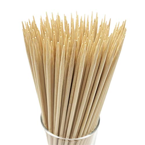 """HOPELF 12"""" Natural Bamboo Skewers for BBQ,Appetiser,Fruit,Cocktail,Kabob,Chocolate Fountain,Grilling,Barbecue,Kitchen,Crafting and Party. Φ=4mm, More Size Choices..."""