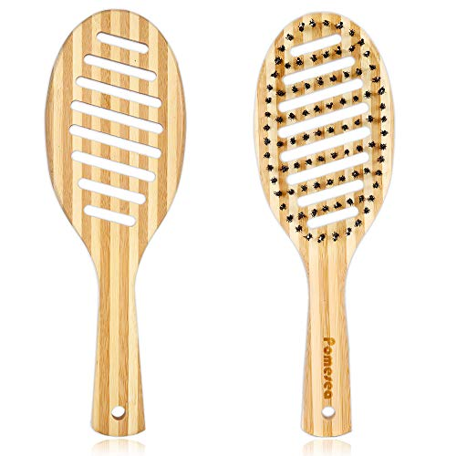 Bamboo Vent Paddle Hair Brush, Boar Bristle Wet Hair Brush, Flex Vented Detangling Massage Brush for Adults, Premium Paddle Hairbrush for Long Thick Curly Hair (1 Pack)