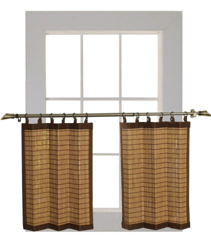 Bamboo Ring Top Curtain BRP07 2-Piece 48 L x 24-Inch H Tier Set, Colonial Brown