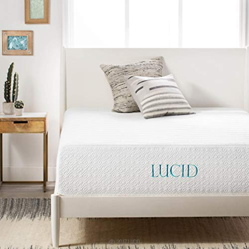 LUCID 14 Inch Medium-Plush Ventilated Gel Bamboo Charcoal Infused Memory Foam Bed Mattress Conventional, California King