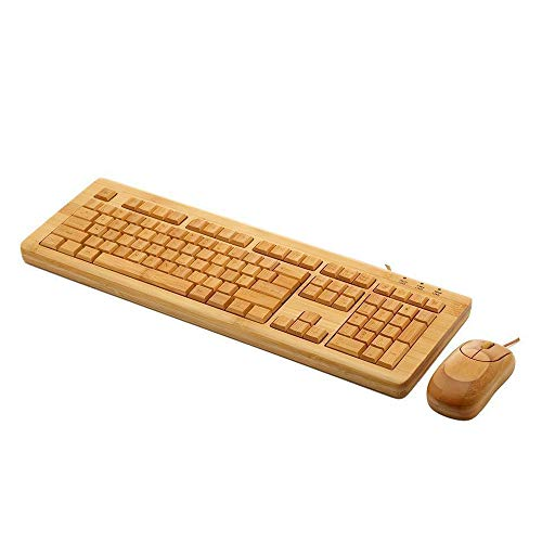 NCBH Wired Wooden Keyboard and Mouse Combo Environmentally Friendly 108 Key Exquisite Bamboo Products Keypad for Home & Office Use