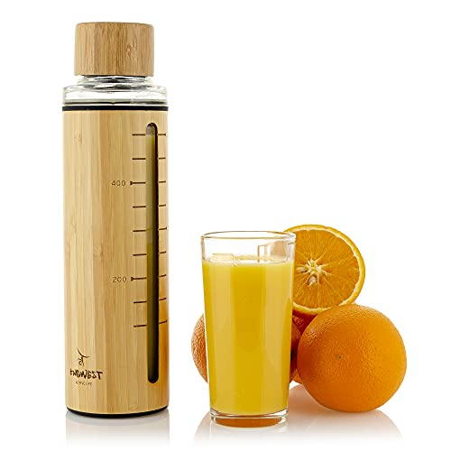 Bamboo Vacuum Tumbler Glass Water Bottle 600 ml (20 oz). All Eco-material, absolutely eco-friendly, safe and useful. Sport, Travel, Work!