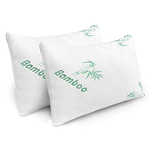 Pillows for Sleeping - 2 Pack Cooling Shredded Memory Foam Bed Pillows with Bamboo Covers (Queen Size)