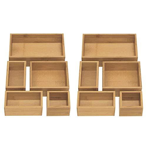 Seville Classics 10-Piece Bamboo Box Set Desk Drawer Bin Storage Organizer, pc