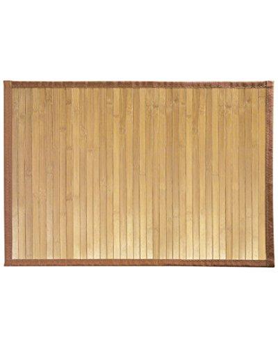 iDesign Formbu Bamboo Floor Mat Non-Skid, Water-Resistant Runner Rug for Bathroom, Kitchen, Entryway, Hallway, Office, Mudroom, Vanity, 17' x 24', Natural Beige,81132
