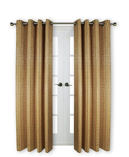 """Versailles Home Fashions BPU144884-9 Bamboo Wood Curtain Panel with Grommets, 48"""" x 84"""", 09 Teak"""