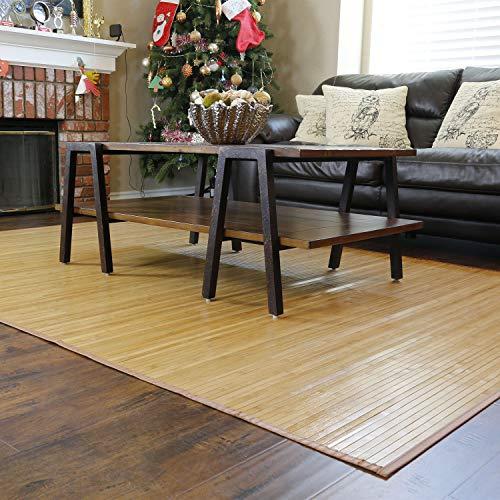 "Home Aesthetics Natural Bamboo 5' X 8' (60""x96"") Floor Mat, Bamboo Area Rug, Elegant Brown Color Finish Indoor Carpet, Non Skid Backing, Floor Runner Mat for Living Room, Hallway, Kitchen, Office"
