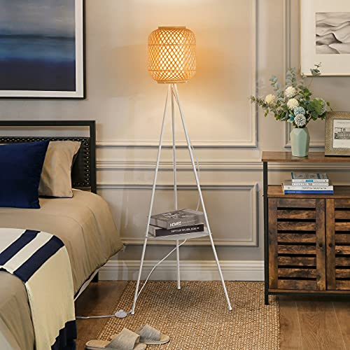 Modern Bamboo Tripod Floor Lamps with Shelf for Living Room, Bedroom, White Mid Century Standing Light with Table Attched Ratten Contemporary Tall Lamp for Office-E26 Blub not Included
