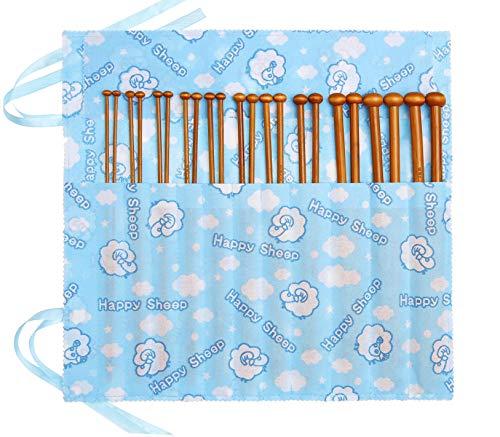 Fairycece Bamboo Knitting Needles Set Knitting Needle Case Kits for Beginners Wooden Wood