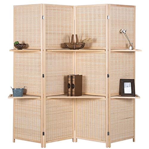 RHF 6 ft Tall (Extra Wide) Beige Woven Bamboo Room Divider&Room dividers and Folding Privacy Screens,Partition Wall, with 2 Display Shelves&Room Divider with Shelves-Bamboo -4 Panels 2 Shelves