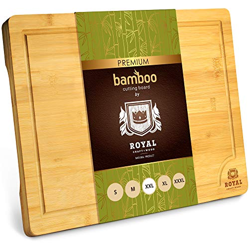 """XXL Bamboo Cutting Board for Kitchen with Juice Groove - Wooden Chopping Board for Meat, Vegetables, Fruit and Cheese 