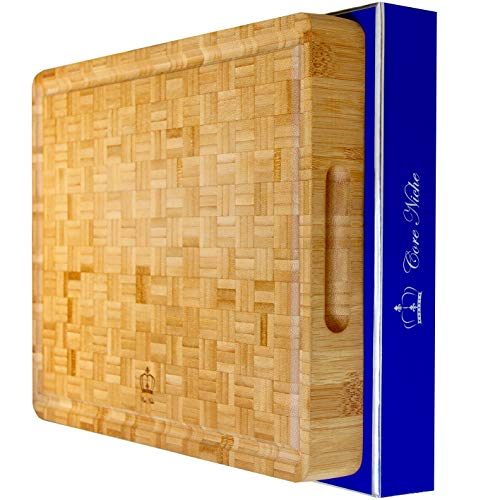 """Wood Cutting Boards for Kitchen Bamboo Cutting Board Butcher Block with Handles & Juice Groove - Reversible Thick Chopping Board for Meat, Vegetables, Cheeseboard for everyday use! 16x12x1.75"""""""