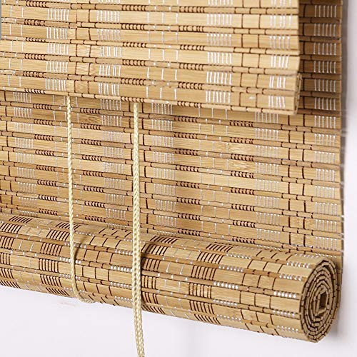 Outdoor Bamboo Window Shades Blinds, Waterproof Wood Roller Shades With 6 Inches Valance, Light Filtering Roll Up Sun Shades Window Blinds for Patio, Doors, Porch, Balcony,Gazebo,Pergola,Deck Color5